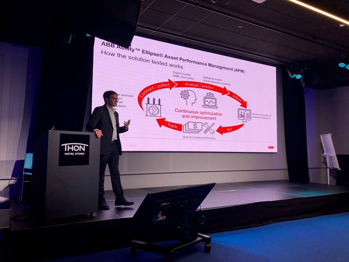 Steven Hagner Industry Solution Executive at ABB, presented ABB's contribution to the project, also including results from research on an analytics solution to improve decision making about transformer maintenance and replacement.